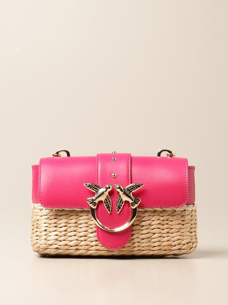 Love mini Icon Midollino Pinko bag in leather and woven raffia