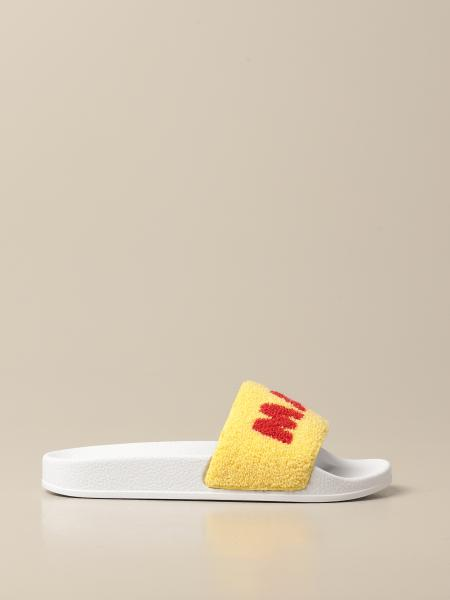 Marni: Marni sandal in rubber and fabric with logo