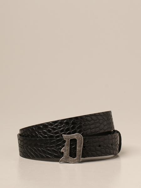 Dondup leather belt with crocodile print