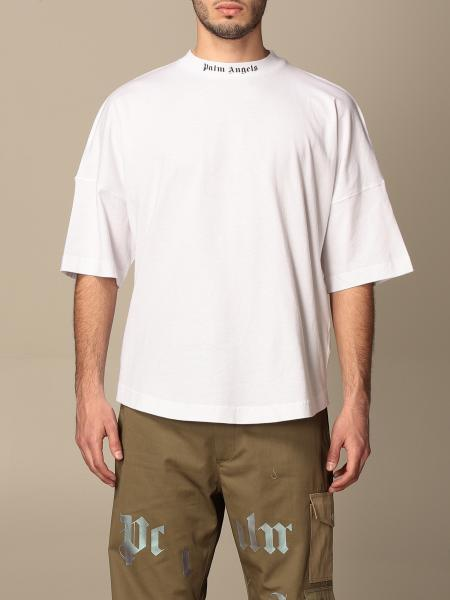 T-shirt Palm Angels in cotone con logo posteriore
