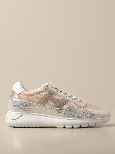 Hogan women: Interactive cube Hogan sneakers in laminated leather and canvas
