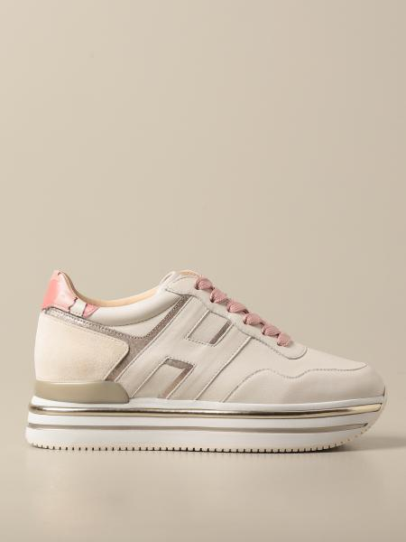 Hogan women: Hogan platform sneakers in suede and laminated leather
