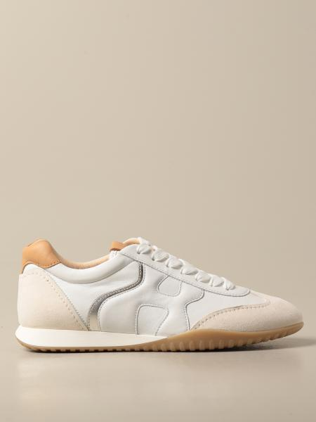 Hogan women: Hogan sneakers in leather and suede with wavy H