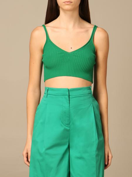 Twinset women: Twin-set cropped top in ribbed knit