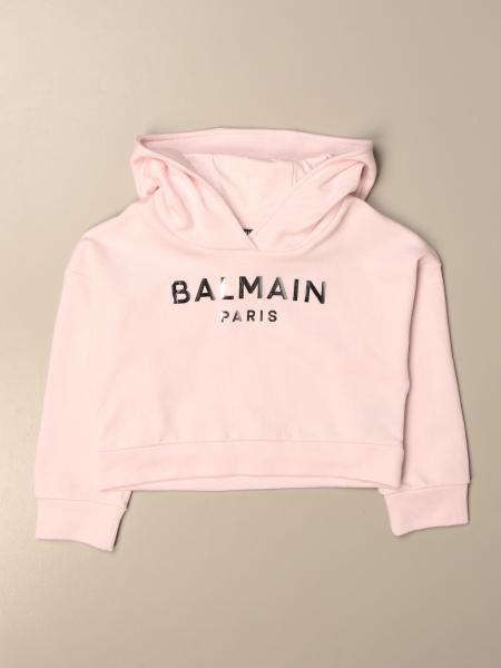 Felpa cropped Balmain con cappuccio e logo