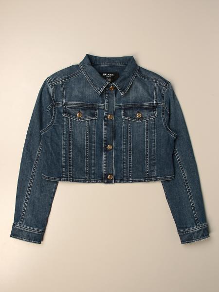 Balmain: Giacca di jeans Balmain cropped con logo posteriore