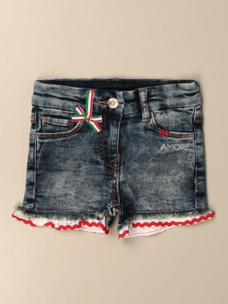 Monnalisa jeans shorts with Sangallo bottom