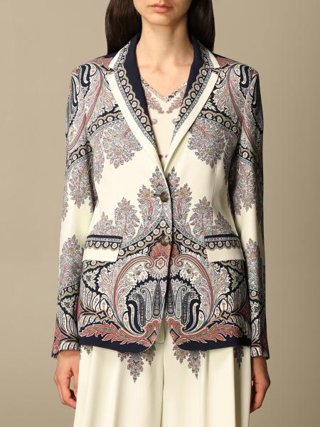 Etro women: Etro single-breasted jacket in patterned viscose