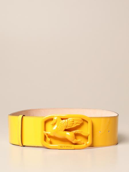 Etro patent leather belt with Pegaso buckle