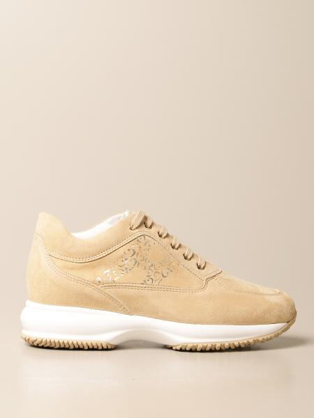 Hogan women: Interactive Hogan sneakers in suede with decorated H