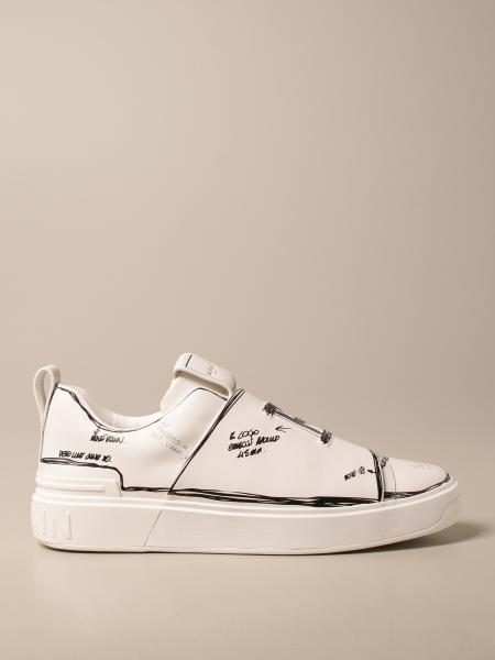 Balmain: Sneakers B-Court Balmain in pelle con stampe