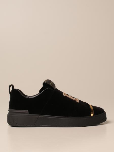 Balmain: Sneakers B-Court Balmain in velluto con logo