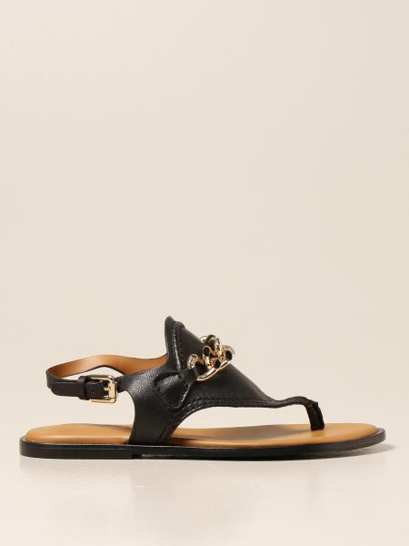 See By Chloé: Sandalo flat See By Chloé in pelle con catena