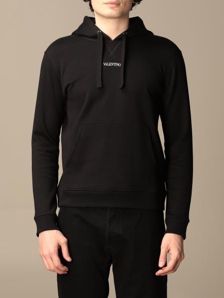 Valentino: Felpa con cappuccio Valentino in cotone con logo