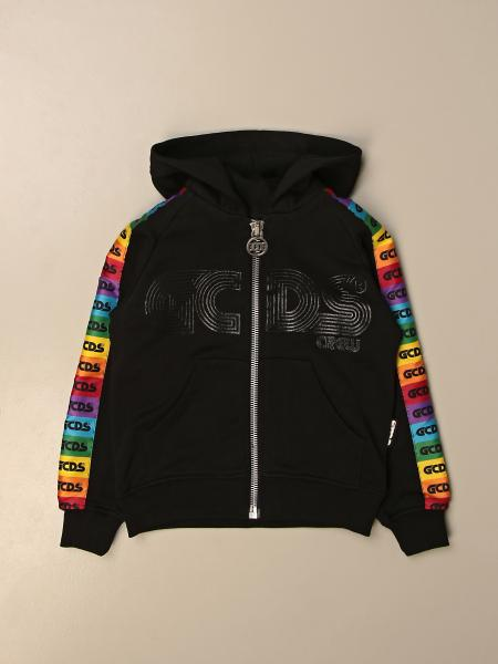 Gcds hooded sweatshirt with multicolor logoed bands