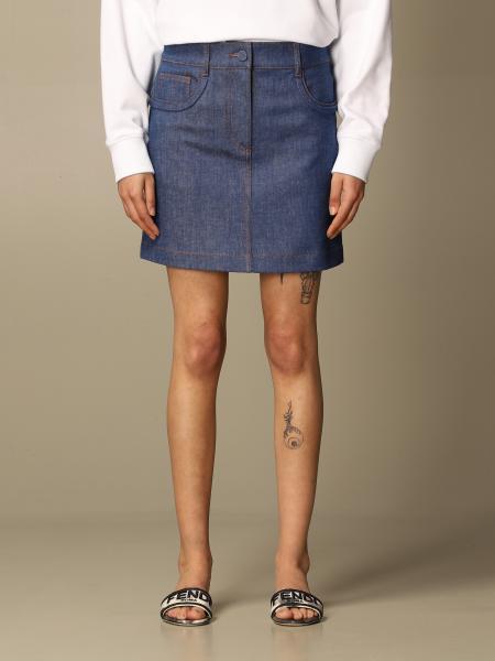 Fendi women: Fendi denim mini skirt with logo