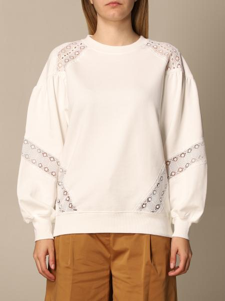 Twinset women: Twin-set crewneck sweatshirt with embroidered inserts