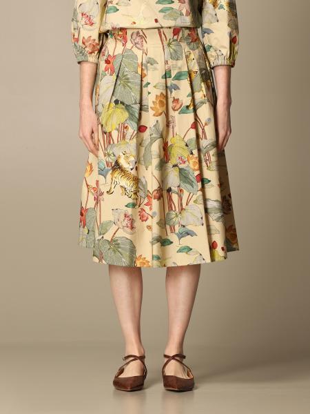 Etro women: Etro pleated skirt in printed poplin