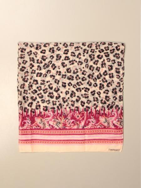 Twin-set animal print scarf with logo
