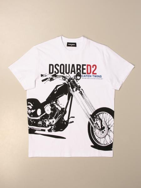 Dsquared2 Junior T-shirt in cotton with motorcycle print