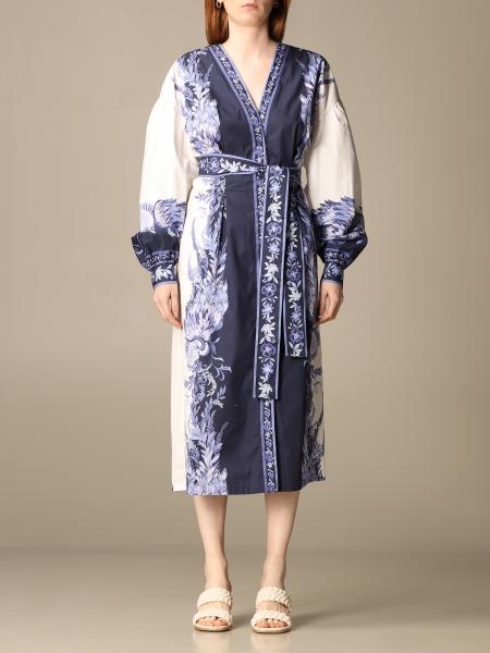 Twinset women: Twin-set midi dress in porcelain patterned cotton