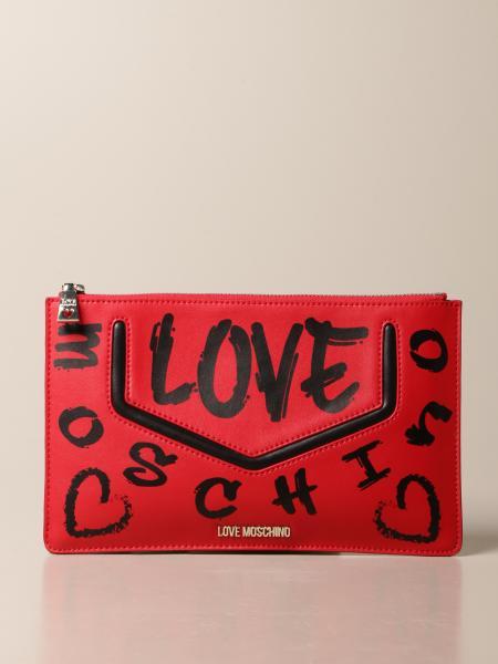 Borsa a tracolla Love Moschino in pelle sintetica con stampa logo