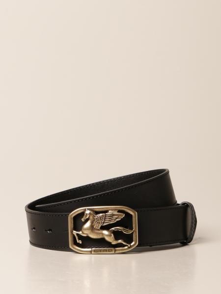 Cintura Etro in pelle con logo Pegaso
