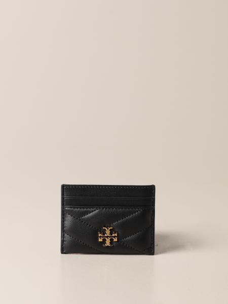Tory Burch: Tory Burch credit card holder in quilted leather with metallic emblem
