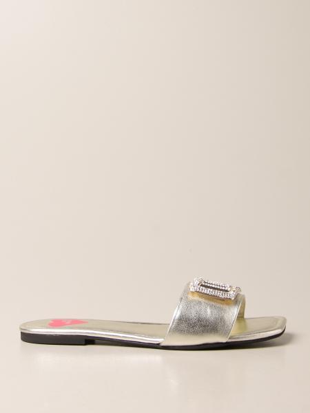 Sandalo flat Love Moschino in pelle laminata