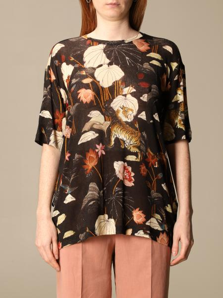 Etro women: Etro viscose sweater with tiger and water lily print