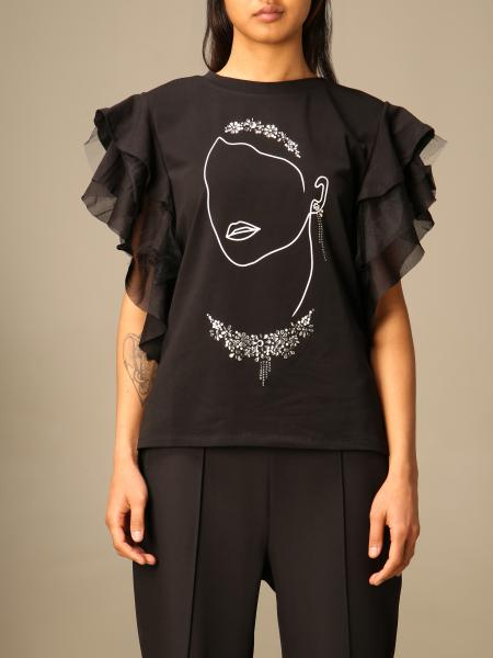 Twinset women: My Twin T-shirt with face and rhinestones