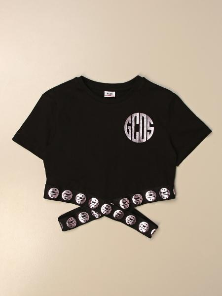 Gcds cotton cropped t-shirt with logo