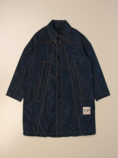 Single-breasted coat N ° 21 in technical fabric