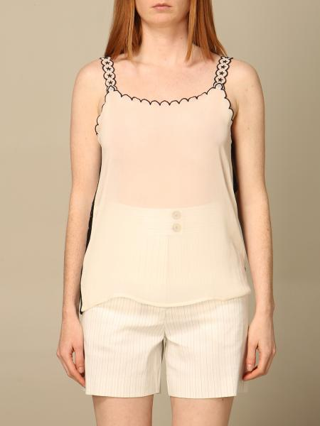 Pinko women: Pinko georgette top with embroidery