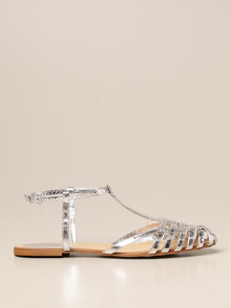 Anna F.: Anna F. flat sandals in laminated leather with python print