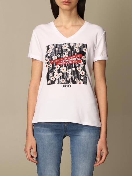 T-shirt a v Liu Jo con stampa vespa