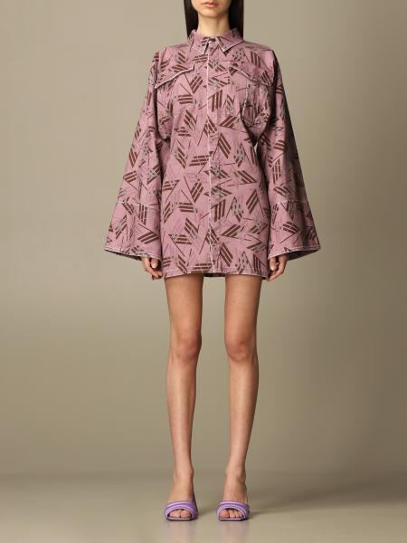 The Attico: The Attico dress in cotton with logo print