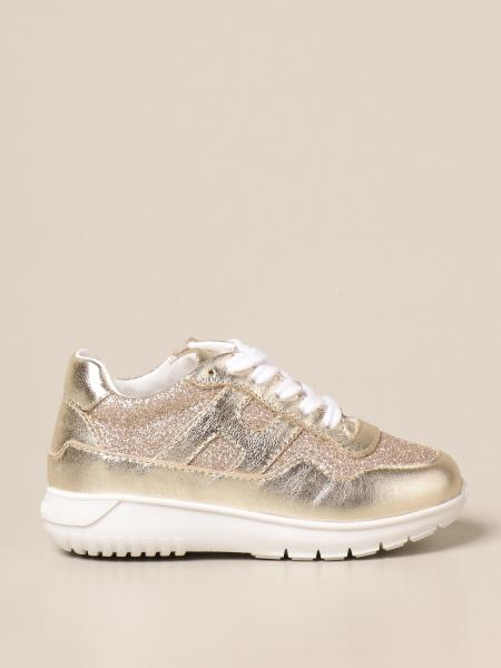Hogan Baby sneakers in laminated leather and glitter