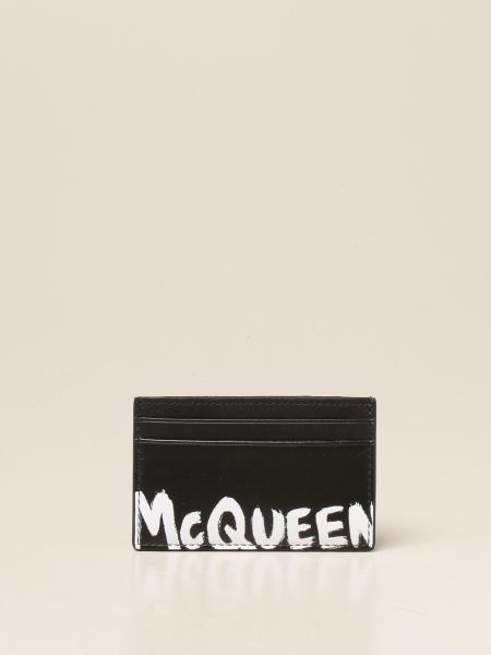 Alexander Mcqueen: Porta carte di credito Alexander Mcqueen in pelle con logo