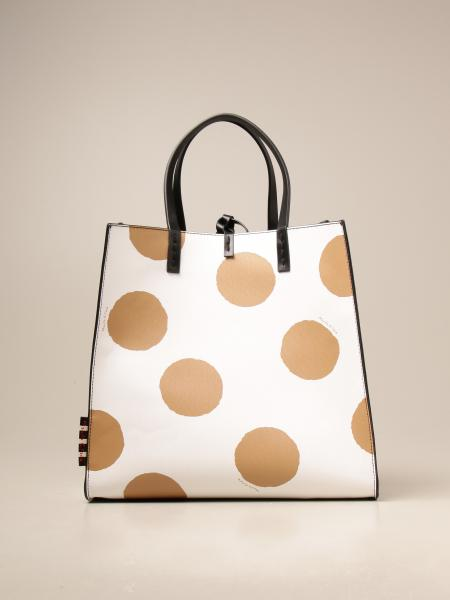 Manila Grace women: Manila Grace handbag in saffiano synthetic leather with polka dots