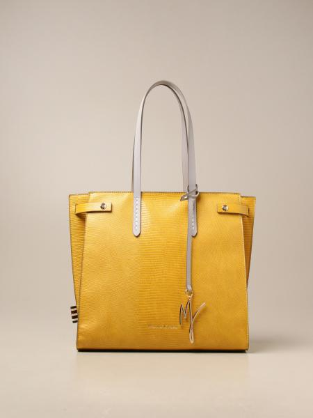 Manila Grace women: Felice medium Manila Grace shoulder bag in textured synthetic leather