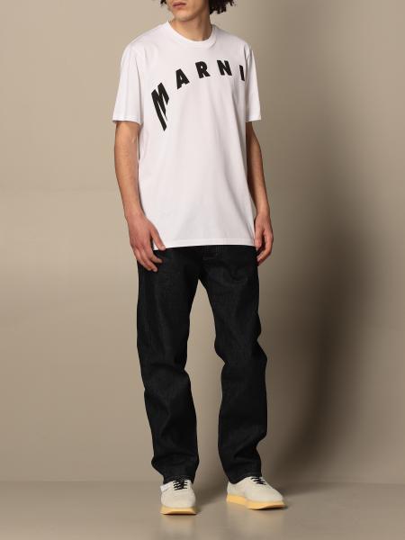 Marni: Marni cotton t-shirt with distorted logo