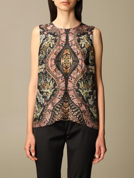 Etro women: Etro top in patterned silk and viscose blend