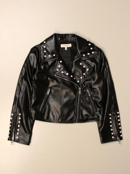 Twin-set jacket in synthetic leather