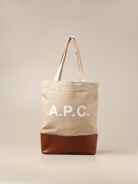A.p.c.: Borsa a mano A.P.C. in tela e pelle