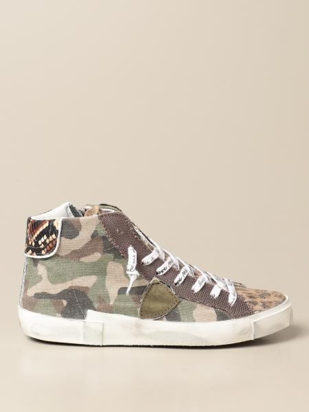 Philippe Model women: Paris Philippe Model sneakers in camouflage canvas and suede