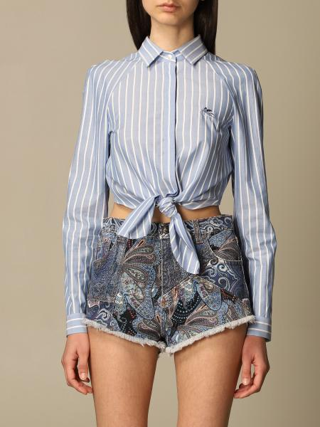 Etro women: Etro cropped shirt in striped poplin