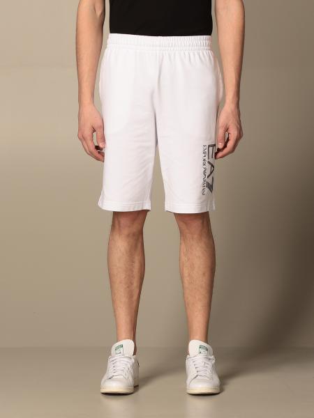 Pantaloncino jogging EA7 in cotone stretch con logo