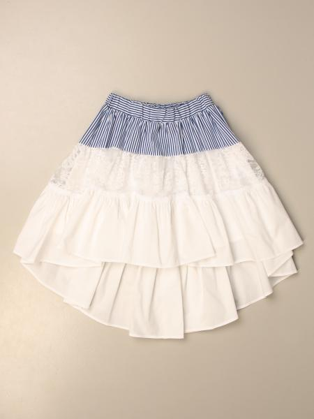 Monnalisa wide skirt in micro-striped cotton