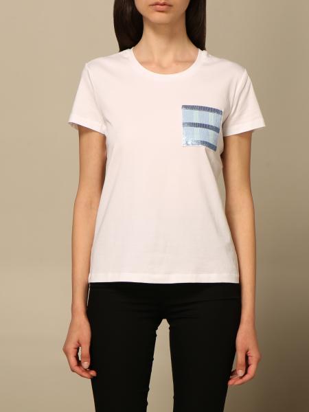 Emporio Armani women: Emporio Armani stretch cotton T-shirt with patch pocket